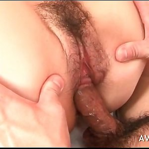 Hairy asian gets creampied in her cunt