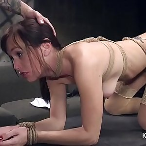 Slim brunette whipped and anal fucked