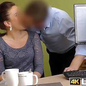 Young lady pounded roughly in office by hung creditor
