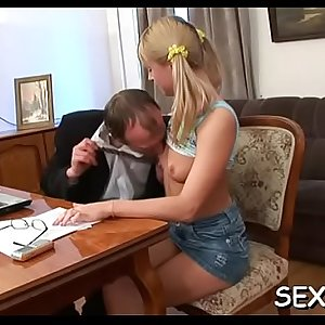 Playgirl gives old teacher oral pleasure till she gets jizz flow