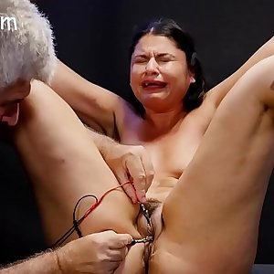 Slave reeducated with clamps and shock