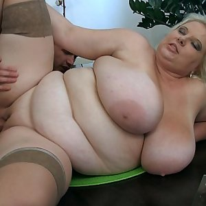 Huge nut sack blonde strips and spreads gams for him