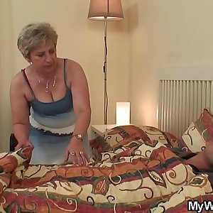 Mom in law compels him doggy-fucks her