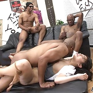 Three black men probes the Asian whores pussy