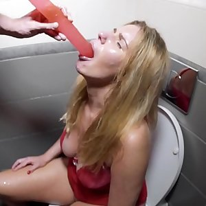 Piss Drinking, Deepthroat Puke Humiliation with Drunk Slut in the toilet