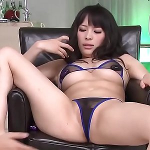 Asian milf in bikini gets toys on her tight pussy