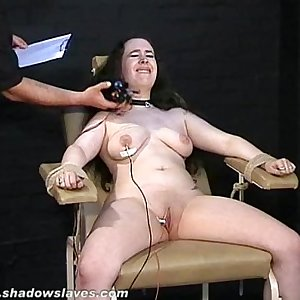 Electro tortured bbw in harsh stool bondage and severe suffering of fat slave